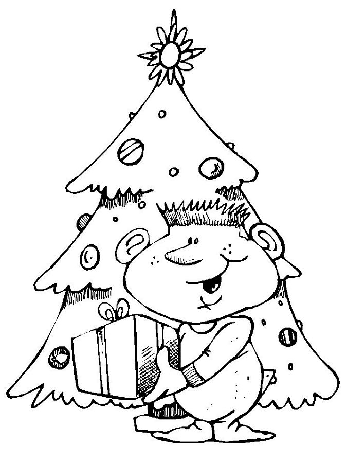 Children Themed Christmas Coloring Pages