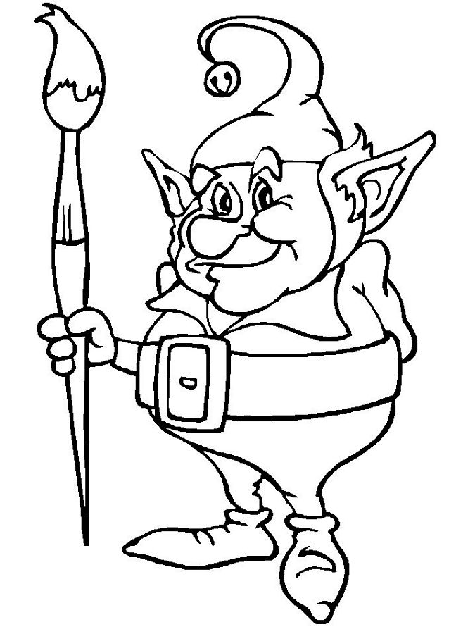 elves coloring pages to printy - photo#8