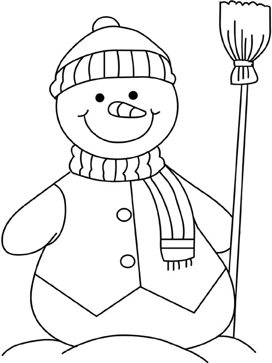 winter coloring pages snowman free-#21