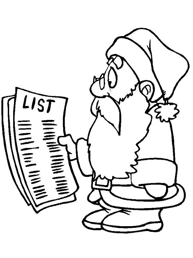 Santa Coloring Pages List Coloring Page